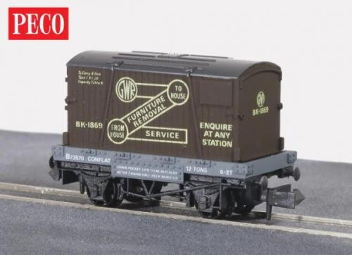 NR-20 Peco GWR Furniture Removals Container & Conflat Wagon