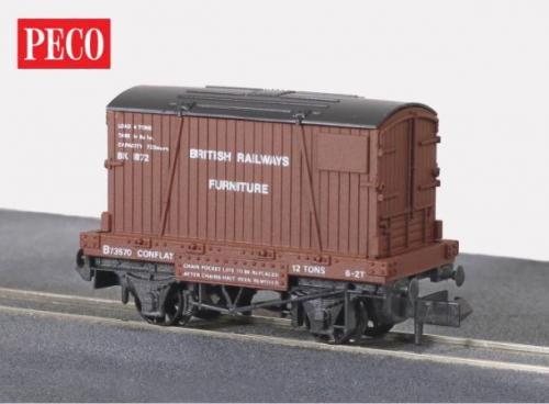 NR-22 Peco BR Furniture Removals Continer and Conflat wagon